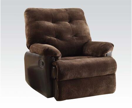 """Acme Furniture Layce 38"""" Recliner with Hand Latch Under Armrest, Plush Padded Arms, Tufted Cushions and Fabric Upholstery in Chocolate Color"""