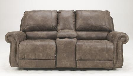 Signature Design by Ashley Oberson 741009X X Double Reclining Loveseat with Storage Console, Cup Holders, Bustle Back and Nail-Head Accents in Gun Smoke Color