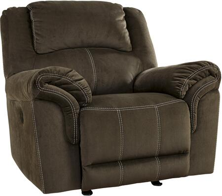 """Signature Design by Ashley 957058 Quinnlyn 43"""" Rocker Recliner with Jumbo Stitching, Metal Frame and Fabric Upholstery in Coffee Color"""