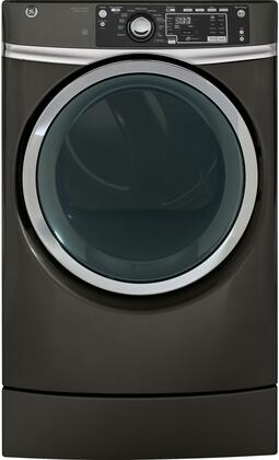 """GE GFD49ER 28"""" Front Load Electric Dryer with 8.3 cu. ft. Capacity, RightHeight Built-In Pedestal Design, Steam Refresh, Detangle Assist, Stainless Steel Drum, HE Sensor Dry and Sanitize Cycle, in"""