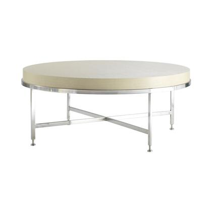 """Allan Copley Designs 20601-01RX 43"""" Wide Galleria Round Cocktail Table With Brushed Stainless Steel Frame, Criss-Cross Stretcher, In:"""