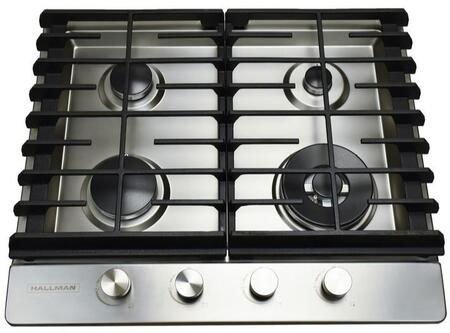Hallman HGCx02ST Gas Cooktop with Sealed Burners Including a Tri-Ring Power Burner, in Stainless Steel