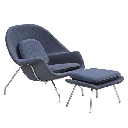 Fine Mod Imports FMI1134 100% Wool Upholstered Woom Chair & Ottoman: