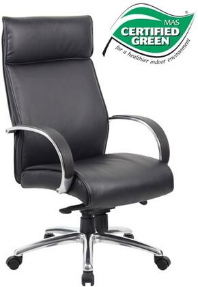 """Boss B7711 45"""" High-Back Executive Chair with Aluminum Polished Arms, Knee Tilt Mechanism, Gas Lift Seat Height Adjustment, and Adjustable Tilt Tension Control in Black Upholstery"""