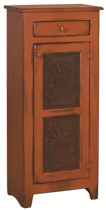 """Chelsea Home Furniture Zoe 4650203T 22"""" Pie Safe with 1 Door, 1 Drawer, Metal Knobs, Star Tins Design and Premium Grade Pine Wood Construction in Color"""