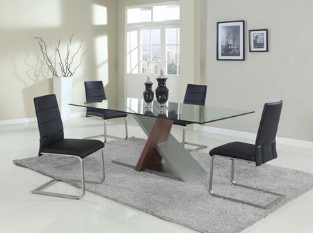 Chintaly SAVANNAH5PC 5 Piece Set - Chamfer Edge Tempered Clear Glass Table with 4 Motion Side Chairs