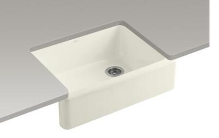 """Kohler K-6487- Whitehaven 29 11/16"""" Farmhouse Single Basin Cast Iron Kitchen Sink with Tall Apron:"""