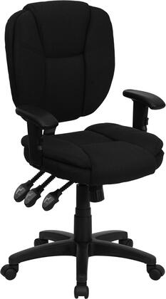 """Flash Furniture GO-930F-XX-ARMS-GG 18.25"""" Mid-Back Fabric Multi-Functional Ergonomic Task Chair with Arms, Pillow Top Cushioned Seat and Back and Triple Paddle Control Mechanism"""