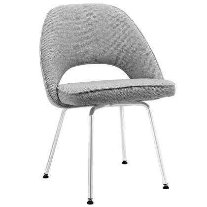 """Modway EEI-622 Cordelia 20"""" Dining Chair with Dual-Tone Upholstered Tweed Cushion, and Chrome Legs with Non-Marking Feet"""