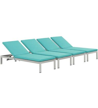 "Modway Shore Collection EEI-2738-SLV- Set of (4) 76"" Outdoor Patio Aluminum Chaises with Adjustable Height, Breathable Textilene Mesh, Woven PVC Coated Polyester and Anodized Aluminum Frame in Silver and"