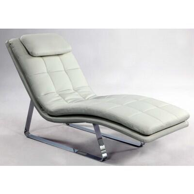 Chintaly CORVETTELNGWHT Corvette Series Contemporary Leather Chaise Lounge
