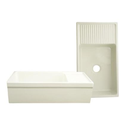 "Whitehaus WHQD540 36"" Quatro Alcove Reversible Fireclay Farmhouse Kitchen Sink With Drain Board in"