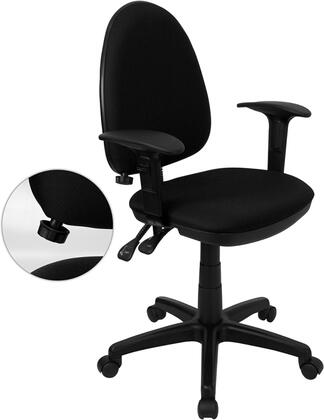 "Flash Furniture WL-A654MG-XX-A-GG 16.5"" Mid-Back Fabric Multi-Functional Task Chair with Arms, Adjustable Lumbar Support, Double Paddle Control Mechanism, and Pneumatic Seat Height Adjustment"