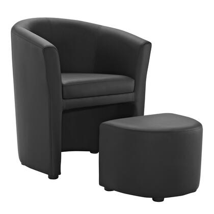 Modway EEI1407BLK Divulge Series Faux Leather Armchair in Black with Ottoman Included