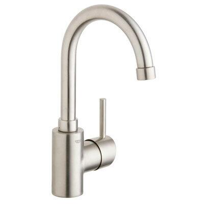 "Grohe 32138XX1 12"" High Single Hole Bathroom Faucet With SilkMove Technology, WaterCare, ADA Compliant, Includes Metal Pop-Up Drain Assembly, Starlight Finish, In"