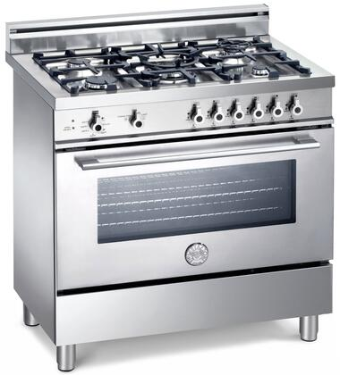 Bertazzoni X365PIRX Professional Series Dual Fuel Freestanding Range with Sealed Burner Cooktop, 4 cu. ft. Primary Oven Capacity, Storage in Stainless Steel