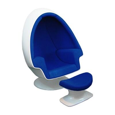 Fine Mod Imports FMI1113BLUE Alpha Series Club Fabric White Shell Frame Accent Chair