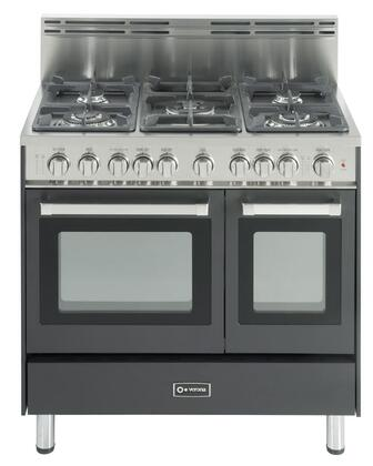 "Verona VEFSGG365DE 36"" Gas Freestanding Range with Sealed Burner Cooktop, 2.4 cu. ft. Primary Oven Capacity, Storage in Black"