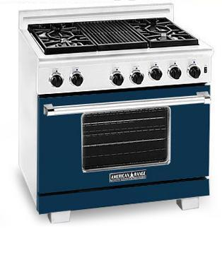 American Range ARR366DB Heritage Classic Series Natural Gas Freestanding Range with Sealed Burner Cooktop, 5.6 cu. ft. Primary Oven Capacity, in Dark Blue