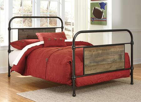 Signature Design by Ashley Trinell B446-7X Metal Bed with Replicated Oak Grain Insert Panels, Turned Accents and Plank Details in Brown