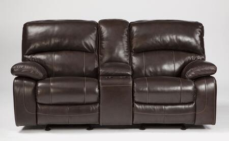 Signature Design by Ashley Damacio U9820X43 Glider Reclining Loveseat with Storage Console, 2 Cup Holders, Divided Bustle Back Cushions and Leather Upholstery in