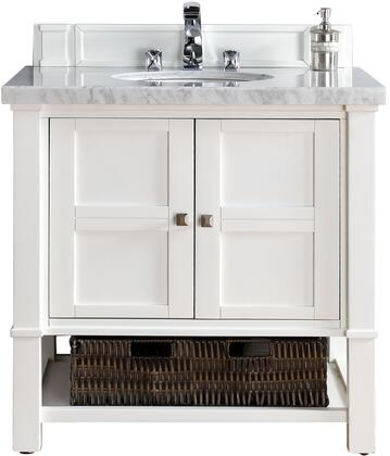 "James Martin Madison Collection 800-V36-CWH- 36"" Cottage White Single Vanity with Two Soft Close Doors, Bottom Shelf, Satin Nickel Hardware and"
