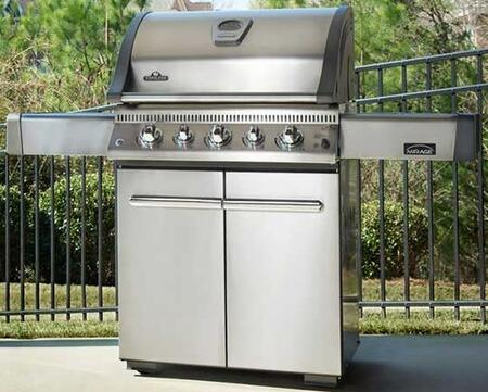 """Napoleon LEX485RSIBSS Lex 61.75"""" Gas Grill with Five Burners, Backlight, Infrared SIZZLE ZONE  Side Burners, 74000 BTUs, Two Doors, and High Grade Stainless Steel Construction"""