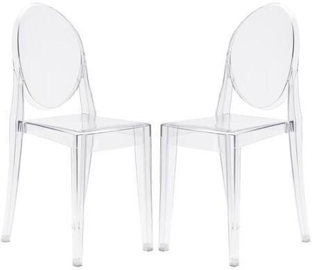 EdgeMod EM102CLRX2 Burton Series Contemporary Plastic Frame Dining Room Chair