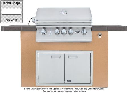 Lion 9010x Prominent Q L75000 Premium Stainless Steel Grill with Stucco Base, Tile Countertop, Stainless Steel Double Door with Towel Rack, GFCI Outlet and Bottle Opener: