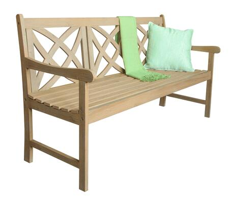 Vifah V1704 Beverly Series Accent Wood Frame Armed Patio Benches