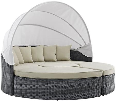 "Modway Summon Collection EEI-1997-GRY- 90"" Canopy Outdoor Patio Sunbrella Daybed with Ottomans, End Table, Two-Tone Synthetic Rattan Weave, UV and Water Resistant in"