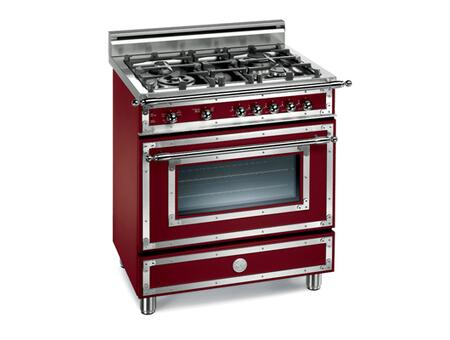Bertazzoni H304GGVVI Heritage Series Natural Gas Freestanding Range with Sealed Burner Cooktop, 2.9 cu. ft. Primary Oven Capacity, Storage in Vino