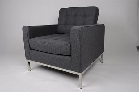 Fine Mod Imports FMI22141GRAY Button Series Wool Armchair with Stainless Steel Frame in Gray