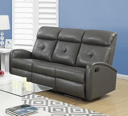 "Monarch I88Z 72"" Reclining Sofa with Bonded Leather, Lumbar Support and Comfortably Padded"