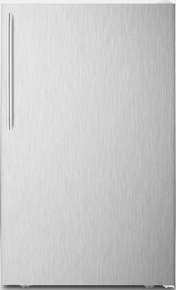 """Summit FF511LX7SSXADA 20"""" AccuCold Series ADA Compliant, Commercially Approved, Medical Compact Refrigerator with 4.1 cu. ft. Capacity, Crisper, Adjustable Thermostat and Automatic Defrost:"""