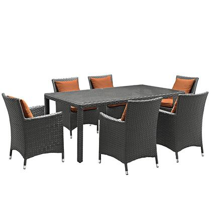 Modway Sojourn Collection EEI-2271-CHC- 7-Piece Outdoor Patio Sunbrella Dining Set with 6 Armchairs and Dining Table in