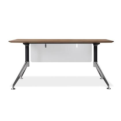 """Unique Furniture 300 Collection 63"""" Computer Desk with Adjustable Height, Wire Management, Non Scratch Surface, Steel Base and High Pressure Melamine Material in"""