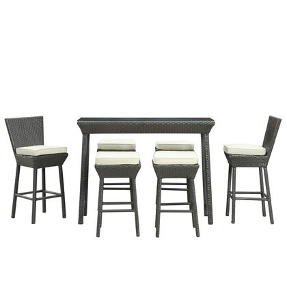 Modway EEI-617 Napa 7 Piece Outdoor Pub Set with All Weather Synthetic Rattan Weave, Powder Coated Aluminum Frame, Water and UV Resistance, and Machine Washable Covers
