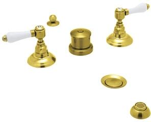 Rohl A1460LP Italian Country Bath Collection Widespread Bidet Faucet with Five Holes and Porcelain Levers in