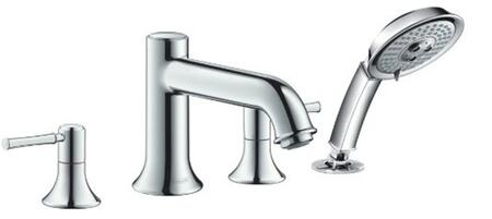Hansgrohe 14314 Double Handle Four Hole Roman Tub Filler Faucet with Metal Lever Handles and Multi Function Hand Shower from the Talis C Collection: