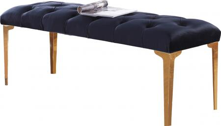Meridian Lucy Collection 118 Velvet Bench with Gold Stainless Steel Legs and Contemporary Design