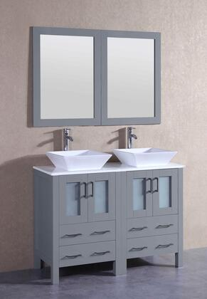 """Bosconi AGR224SX XX"""" Double Vanity with Phoenix Stone Top, Flared Square White Ceramic Vessel Sink, F-S02 Faucet, Mirror, 4 Doors and X Drawers in Grey"""