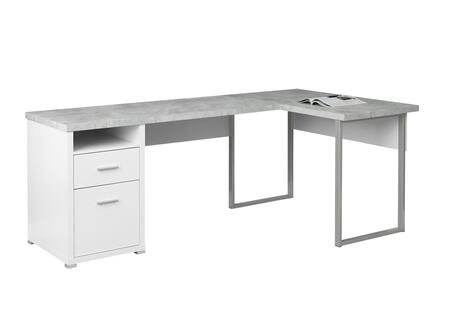 """Monarch I725DESK 79"""" Computer Desk with """"L"""" Shape, Cubby Hole and 2 Drawers in"""
