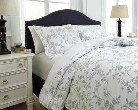 Signature Design by Ashley Florina Q7270 3 PC King Size Duvet Cover Set includes 1 Duvet Cover and 2 Standard Shams with Toile Print, 200 Thread Count and Cotton Material in and White Color