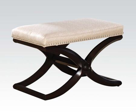 """Acme Furniture Khloe Collection 28"""" Stool with Wooden """"X"""" Base, Nail Head Trim, Schima Superba Materials and Fabric Seat Cushion in"""