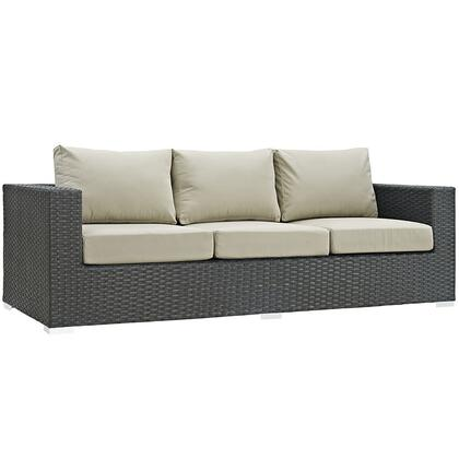 "Modway Sojourn Collection EEI-1860-CHC- 88"" Outdoor Patio Sunbrella Sofa with Powder Coated Aluminum Frame, Synthetic Rattan Weave and Fabric Cushions in"