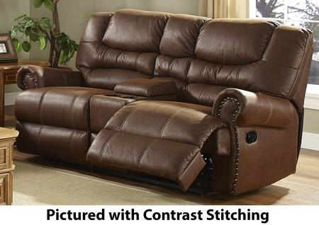 "New Classic Home Furnishings 20-395-25-MO Laredo 79.5"" Dual Recliner Loveseat with Stitching, Console Storage, Cupholders, 100% Polyester Fabric, Nailhead Trim and Sinuous Spring Support, in Mocha"