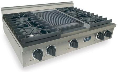 """FiveStar TPN0377 36"""" Sealed Burner Pro-Style LP Gas Rangetop With 4 Sealed Ultra High-Low Burners, Double Sided Grill/Griddle, Electronic Ignition, 120 Volts, In"""