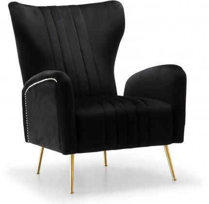 "Meridian Opera Collection 532-X 29"" Accent chair with Velvet, Gold Stainless Legs and Nail Head Trim in"
