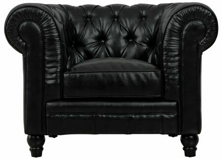 TOV Furniture Zahara TOVC4 Leather Club Chair with Black Birch Legs and Hand-Tufted, 50% Duck Down Rear Cushion, Arms and Front in